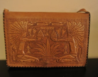 Handbag - leather - school bag - shoulder bag - made in Mexico - Vintage - RARE