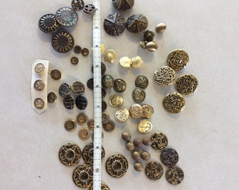 Large Lot (68) Vintage Metal Buttons