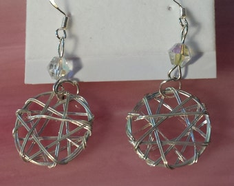 Silver Wire Crystal Dangle Earrings