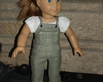 Green and White Bib Coveralls for 18 inch Dolls like American Girl