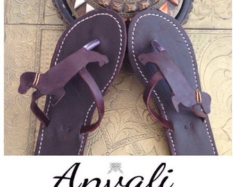 Dachshund sandals flip flops handmade leather