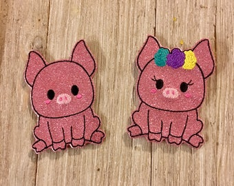 Sparkly Pig Finger Puppet Pair