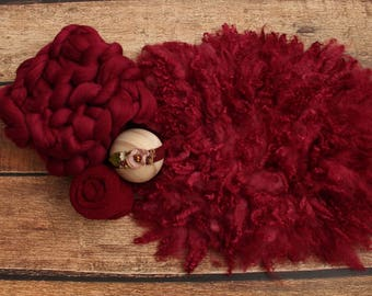 Cranberry props, Burgundy items, Ruby props, Chunky knit blanket, Newborn photo props, Curly felted wool, Basket stuffers, Coordinated props