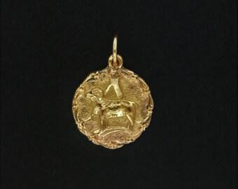 Zodiac Medallion Aries in Antique Bronze