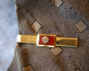 Knights of Columbus Organization Tie Bar Clip - KOC Fraternity emblem w Red Lucite on gold Finish - vintage mens Fashion, Anniversary gift