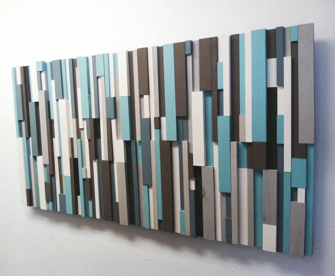 Modern Wood Art Cottage Chic Wood Strip Artwork \'Cooling