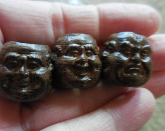 8 C Large 3 Face Buddha Wood Beads DIY Assemblage Art Jewelry supplies