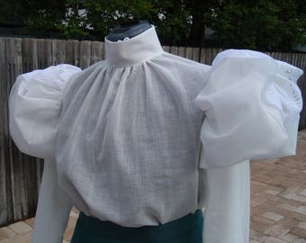 CUSTOME 1890s, Victorian Belle Epoque Blouse. Any Size. Fabric Options