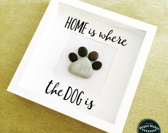 Pebble Art Frame, Home is where the Dog is