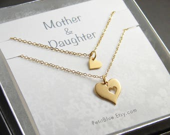 Mother's Day Gift ~ Mother & Daughter Heart Necklace ~ Matte Gold Hear Cutout Necklace ~ Gift for Mom ~ Gift Set for Mother and Daughter