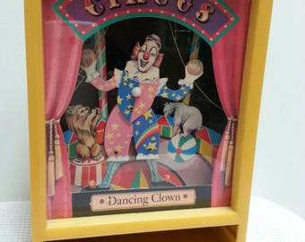 Vintage Dancing Clown Circus Music Box Shadow Box Mechanical Wind Up Dancing Clown