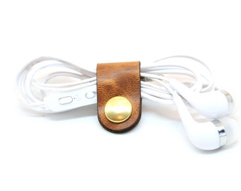 Tiny Cord Keeper, Headphone Tech Accessory, Leather organizer, accessory iphone, cord wrap, Cord Ties, Organizers, Cord Organizer