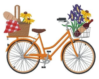 Picnic in the Park Bicycle Embroidered on Made-to-Order Pillow Cover
