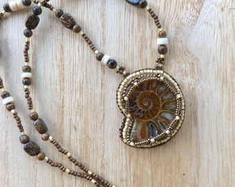 Beaded Ammonite Necklace Fossil Necklace