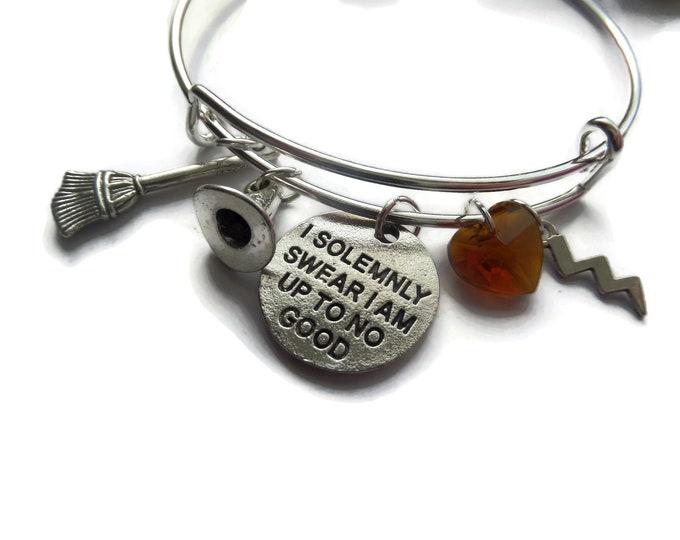 wizard bangle, wizard bracelet, harry bracelet, up to no good, wizards hat, broomstick, fan gift, jewellery gift, jewelery film