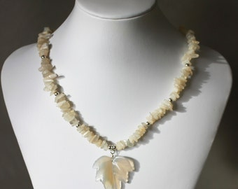 Moonstone chip necklace with carved leaf agate pendant