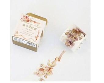Diary Scrapbook Adhesive Masking Deco Washi Tape - Retro Gold Rose (3 cm Width)