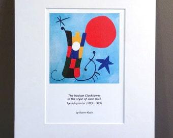 Miro Inspired Hudson Ohio Clocktower, Art Print, 10x8 inches, Matted, Parody Art, by Hudson Ohio Artist Karen Koch