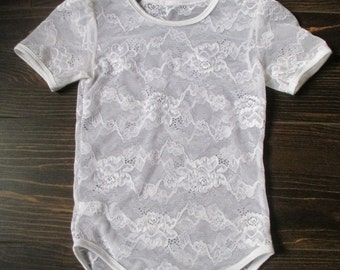lace bodysuit , lace onesie for baby girl toddler  bodisuit lace onesie short sleeves lace top flowergirls apparel wedding bodysuit