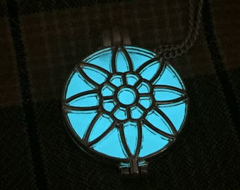 Glow in the dark jewelry, Glowing Necklace, Glowing Locket, Glow in the dark necklace, Sunflower Necklace, Women Necklace, Lotus Necklace