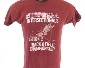 Vintage 80s New York Athletic T-Shirt L Deadstock NYSPHSAA P-Wing 50/50 [H64J_0-6]