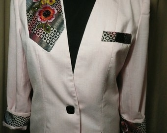 Blazer Pink and Black Women Size 10 Upcycled Recycled Boho Wear Dress It Up Dress It Down One Of A Kind Art Wear Lovely to Look At Easy Care