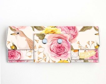 Vinyl Long Wallet - Vintage Roses 2/ birds, vegan, pretty, large wallet, clutch, card case, vinyl wallet, polka dot, yellow, floral