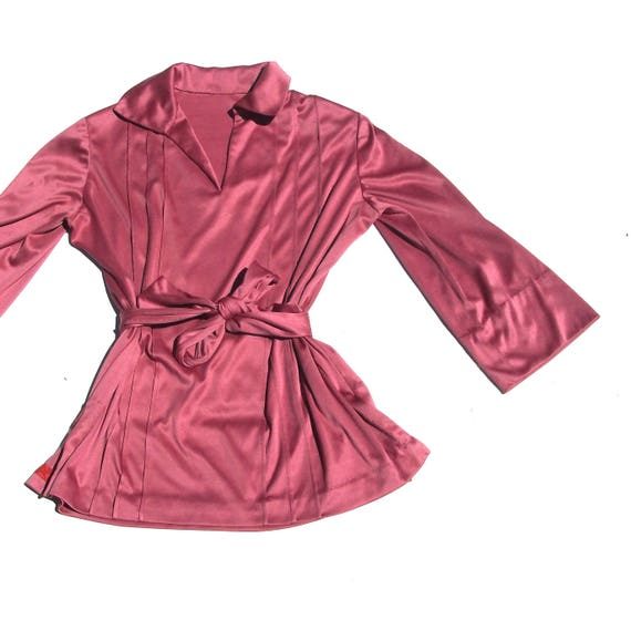 Mauve Bell Sleeve | waist tie 70s retro vintage v neck lapel collar medium M large L XL womens blouse shirt top pink 1970s folk boho chic