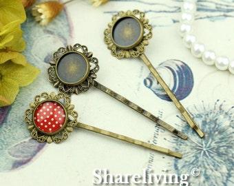 10pcs Antique Bronze Bobby Pin With 12mm Cameo Base Setting HA191