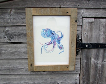 Octopus Print - Reclaimed Solid Oak Frame - Hand Made