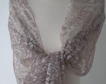 Woman's Lacy shawl taupe nice wedding linen ' eva