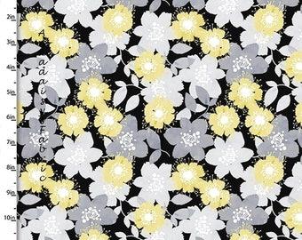 Tissu fleuri jaune, gris et noir, tissu fleuri couette, quilteuses Palette Marbella Collection 12634 noir, fleur en tissu, coton imprimé
