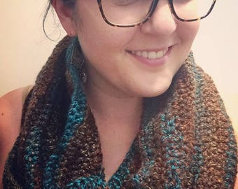 """MADE TO ORDER Crochet Infinity Scarf in """"Mocha"""" (Chocolate Brown/Copper/Turquoise)"""