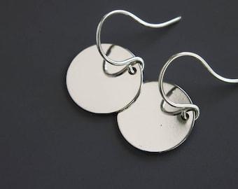 Silver Dot Earrings - Simple Earrings - Disc Jewelry - Trendy Earrings - Dangle Earrings - Everyday Earrings - Silver Dot - Disc Earrings