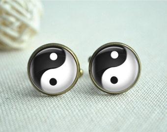 Tai Chi cufflinks Yin Yang Tie clip,Men cufflinks,Black and white Tie Clip,Men Wedding Accessory Groomsmen Gift Jewelry (XK077)