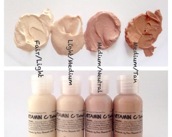 Vegan Tinted Moisturizer - Light, Light Medium, Medium, Tan - with Carrot Oil, Jojoba and Multi Fruit Extracts - Unscented.