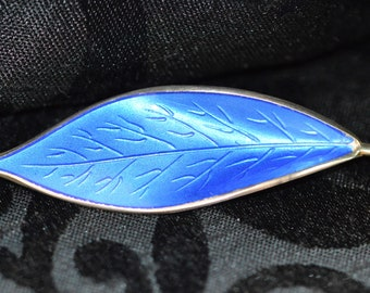 Vintage David Andersen Willy Winnaess sterling silver and blue enamel leaf brooch, Norway, 1950s,  beautiful Scandinavian silver jewellery