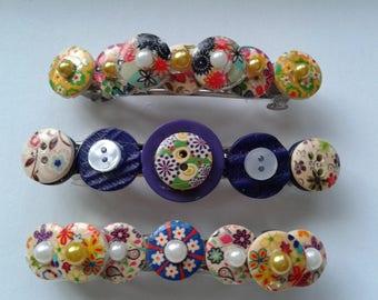 Retro fashion buttons barette