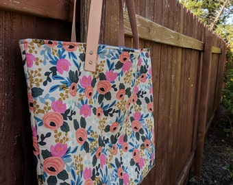 Rifle Paper Co Tote - Canvas Tote - Tote Bag - Oversized Tote - Heavy Duty Tote - Computer Bag - Canvas Tote Bag - Diaper Bag - Floral Tote