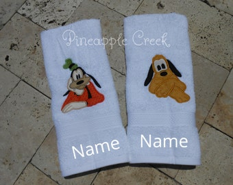 Pluto and Goofy Hand Towels FREE MONOGRAM