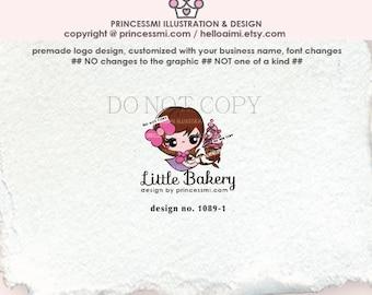 1089-1  bakery Logo, Girl logo, Chef, logo design, logo branding, cupcake,  brand logo design, graphic logo, business logo design, watermark