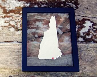 NEW HAMPSHIRE Gift 8x10 Map  * Custom Framed Handmade Canvas Art * State & City * Moving Birthday Wedding Anniversary Graduation Engagement