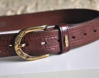 Vintage 80s / 90s brown leather belt, El Campero belt, stamped boho leather belt, tooled belt, italian belt, Made in Italy, gold buckle