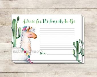 Llama Advice  Card, Advice for New Parents, New Parents Advice, Baby Shower Activity, Llama Baby Shower, Cactus, Printable No. 827