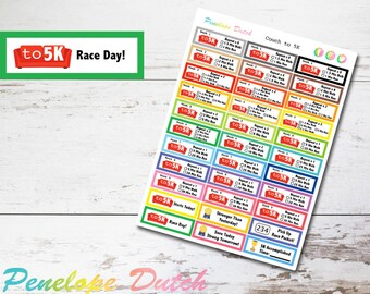 Couch to 5K Running Fitness Program Planner Stickers | Gym Workout Weight Loss Stickers