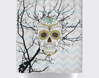 Sugar skull shower curtains,bathroom shower curtains, bathroom curtain, bathroom decor,Rockabilly shower curtain,skull shower curtain.