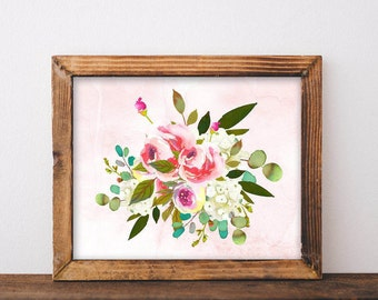 Watercolor Print, printable, flower wall art, flower wall decor, flower print, bedroom wall art, bedroom decor, bathroom, wall decor, art