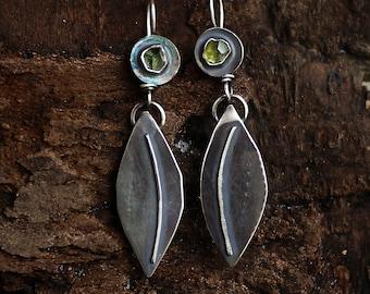 Leaf Earrings, Peridot Earrings, Silver Dangles, Rustic Earrings, August Birthstone, Long Earrings, Peridot Dangles,  Nature Earrings