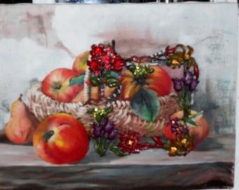 Original oil painting of fruit and basket with embellished frame inserted.