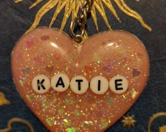 Custom glitter heart resin keyring